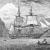 """HMS Beagle a l'estret de Magalhães. Reproducció de la portada del llibre il·lustrat de l'edició del 1890 del """"Viatge del Beagle"""""""