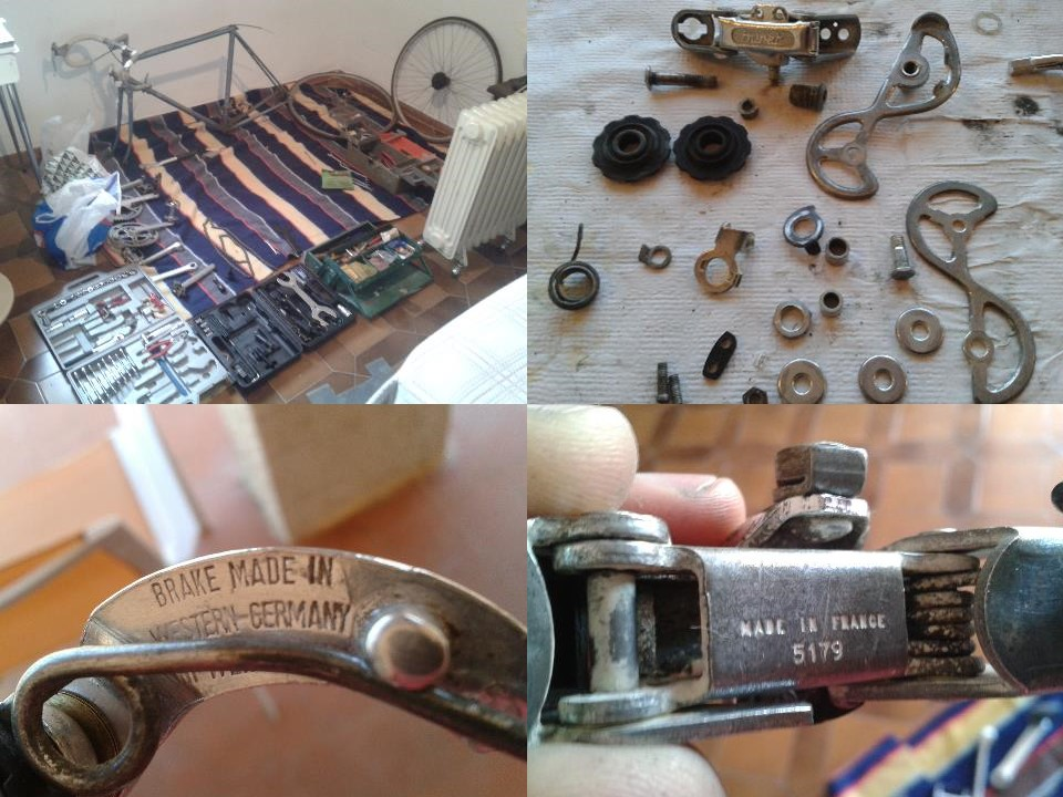 Imagen 1. Despiece, limpieza y montaje de los componentes de mi Cyril Guimard del 80. Como se ve en las imágenes, las piezas estaban fabricadas en Europa.
